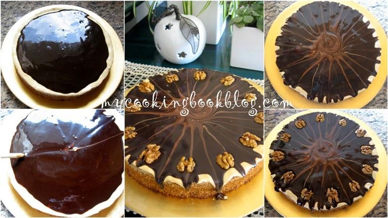 Орехов сладкиш с глазура от млечен карамел (дулсе де лече) и шоколад