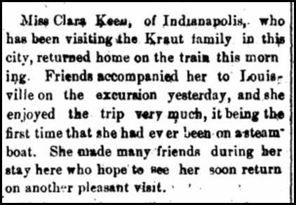 Keen, Clara, News, Kraut Family in Madison, IN, 1885
