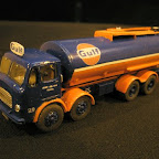 Kevins latest model is this very striking Albion LEY6 8 wheel tanker in the livery of GULF oils,