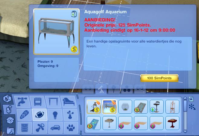 De Sims 3 in-game shopmodus aanbieding