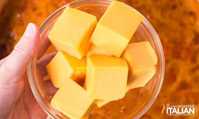cubes of velveeta cheese in a bowl