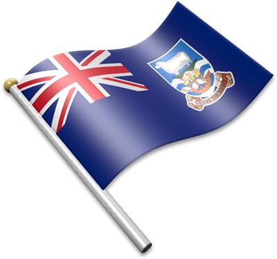 The Falkland Island  flag on a flagpole clipart image