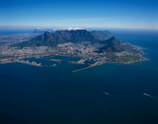 South Africa, Cape Town. Aerial view of Cape Town looking directly towards the City Bowl.