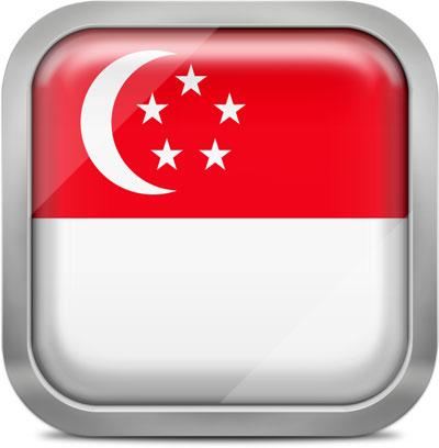 Singapore square flag with metallic frame