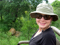 Sarah and a lion - Thornybush Reserve, Kruger NP, South Africa