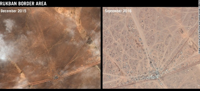 Before and after satellite views of informal refugee camp in Rukban on the Syrian-Jordanian border where tens of thousands of refugees were stranded in September 2016. Photo: Before CNES 2016 / Distribution AIRBUS DS