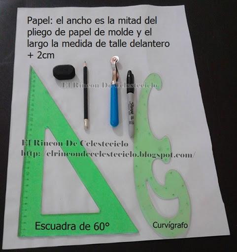 Papel, escuadras, lapices, borrador, marcador, rodaja para trazar patrón