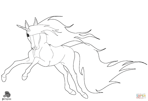 Click The Running Unicorn Coloring Pages