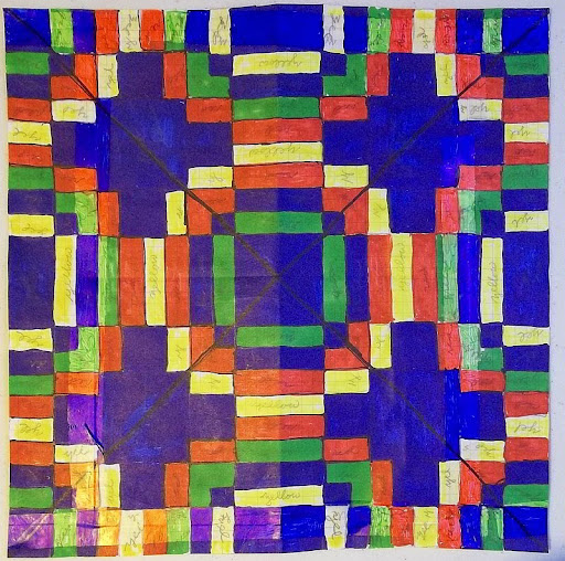 chart for 4-way bargello worked in color on graph paper