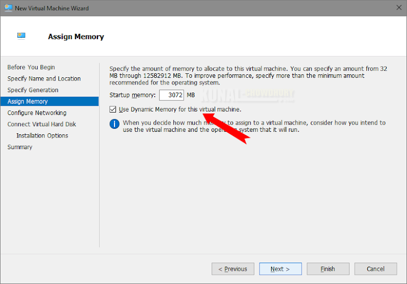 Assign the Virtual Memory to your VM (www.kunal-chowdhury.com)