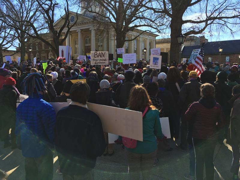 Corwd at an anti-Trump unity rally