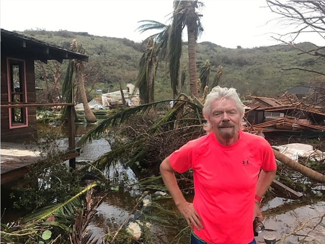 Billionaire founder of Virgin Group Richard Branson stands in front of destruction on Necker Island caused by Hurricane Irma. Photo: Richard Branson / Instagram