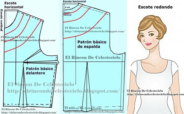 Forma de trazar escote redondo en patrones delantero y espalda
