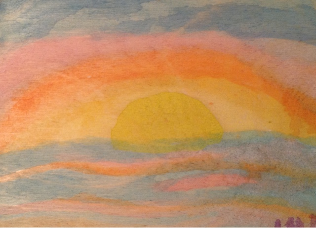 beach sunset watercolor on wood