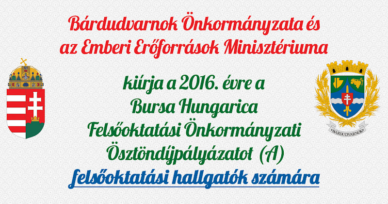 Bursa Hungarica pályázat felsőoktatási hallgatók számára 2016