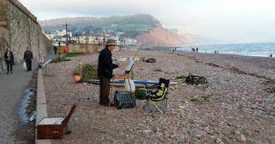 Lawrence Dyer painting at Sidmouth, Devon.