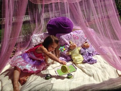 Make an outside fort for your little one in the Summer time. Mesh canopies are cheap! www.thebrighterwriter.blogspot.com