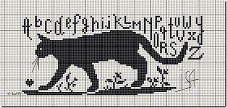 siluetas gatos punto de cruz monocromo  (9)