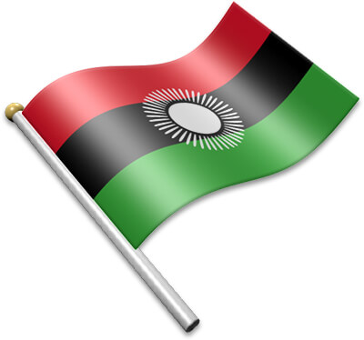 The Malawian flag on a flagpole clipart image
