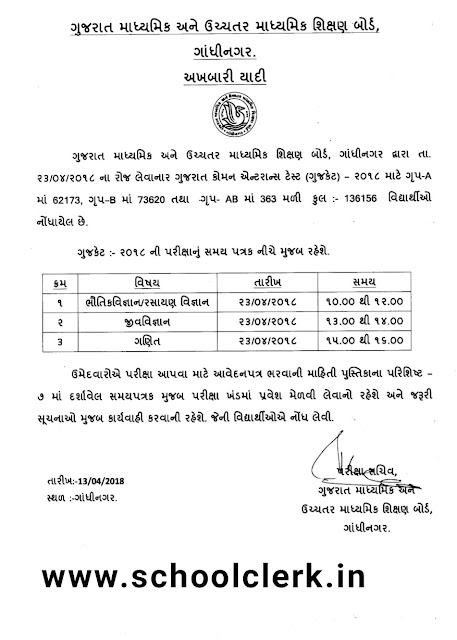 Gujcet exam time table 2018