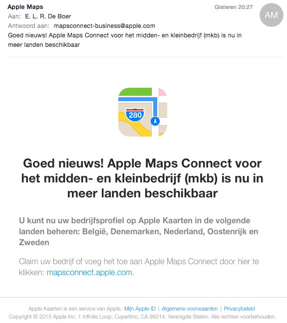 Mail van Apple Maps Connect