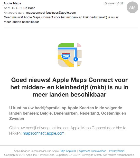 Mail van Apple Maps Connect