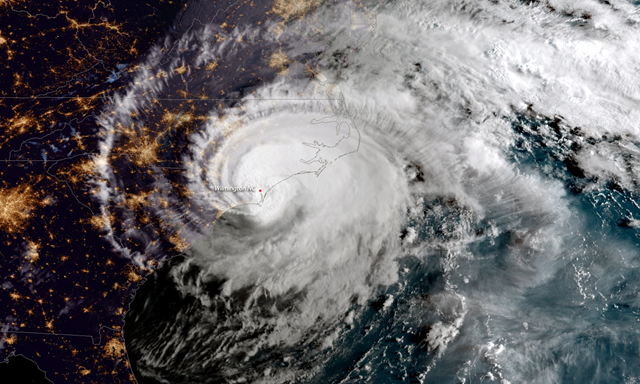 A NOAA satellite handout image shows Hurricane Florence as it made landfall near Wrightsville Beach, North Carolina, on 14 September 2018. Photo: NOAA / Getty Images