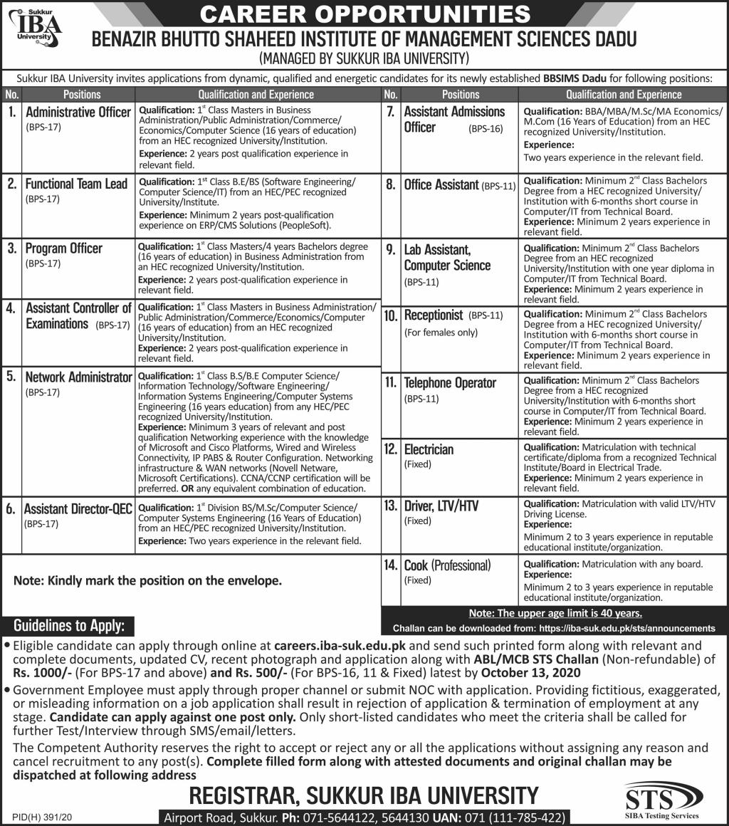 Benazir Bhutto Shaheed Institute of Management Sciences Jobs September 2020