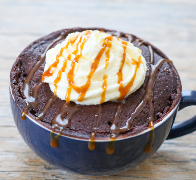 close-up photo of a Salted Caramel Mocha Mug Cake