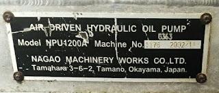 NPU1200A NAGAO MACHINERY WORKS COMPANY JAPAN AIR DRIVEN HYDRAULIC OIL PUMP E-mail: idealdieselsn@hotmail.com / idealdieselsn@gmail.com