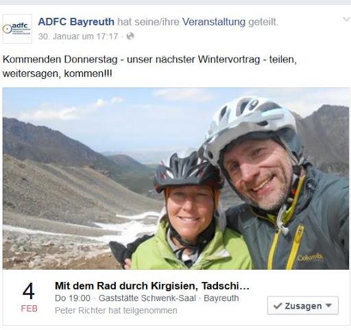 Chris on the Bike: Multimedia-Vortrag Kirgisien und seine Nachbarländer beim ADFC-Bayreuth