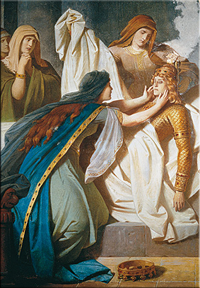 Lamento de Gudrun junto al cadáver de Sigurd. Pintura mural del Vestíbulo Inferior, 1882/83