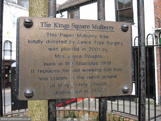 April 2013, plaque explaining the significance of the mulberry tree