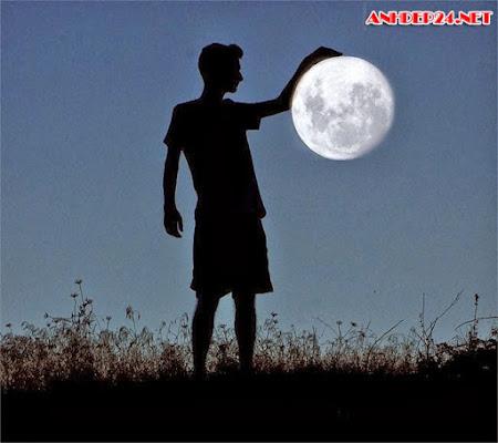 Góc chụp ảnh độc, sáng tạo giữa người và mặt trăng