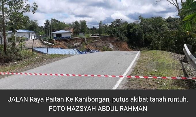 Tanah runtuh, jalan Paitan-Kanibongan terputus hubungan