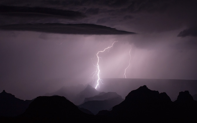Lightning over the Grand Canyon by tjhiker1
