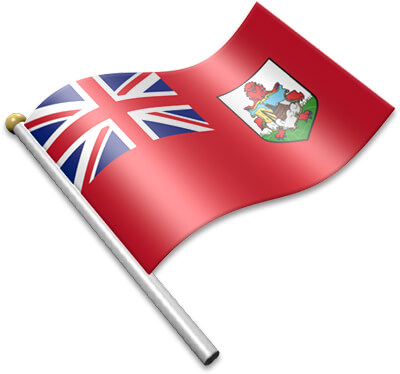 The Bermudian flag on a flagpole clipart image