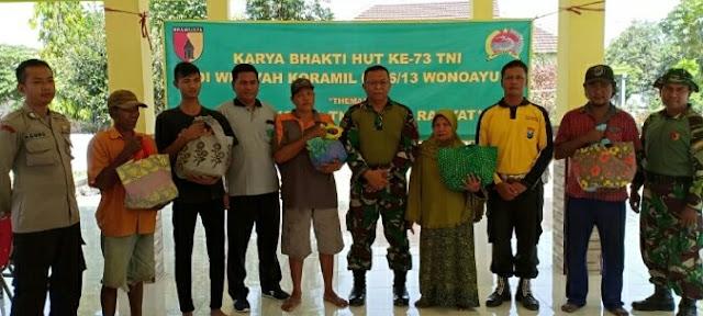 MEMPERINGATI HUT TNI KE - 73 KORAMIL 0816/13 WONOAYU GELAR KARYA BHAKTI DI DESA WONOKALANG