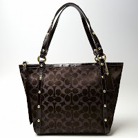 Coach Signature Studded Lurex Tote 18796 Brown