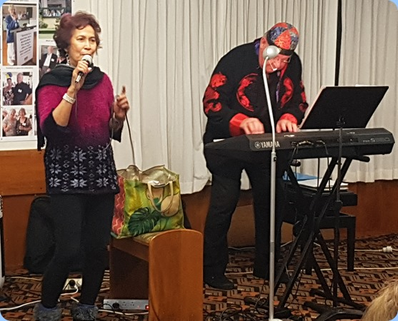 Our guest artists, Jill and Joe Fingers. Joe is playing his Yamaha PSR-S950 arranger keyboard and Jill provided the lead vocals.
