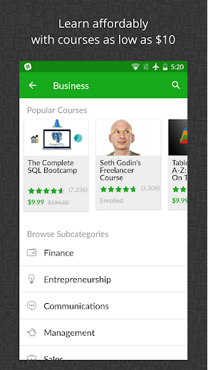 Screenshot 2 for Udemy's Android app'