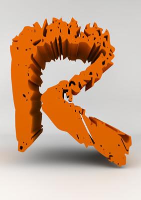 lettre 3D chiffron de craie orange - R - images libres de droit