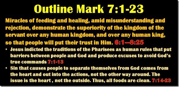 Mark 7.1-23 outline