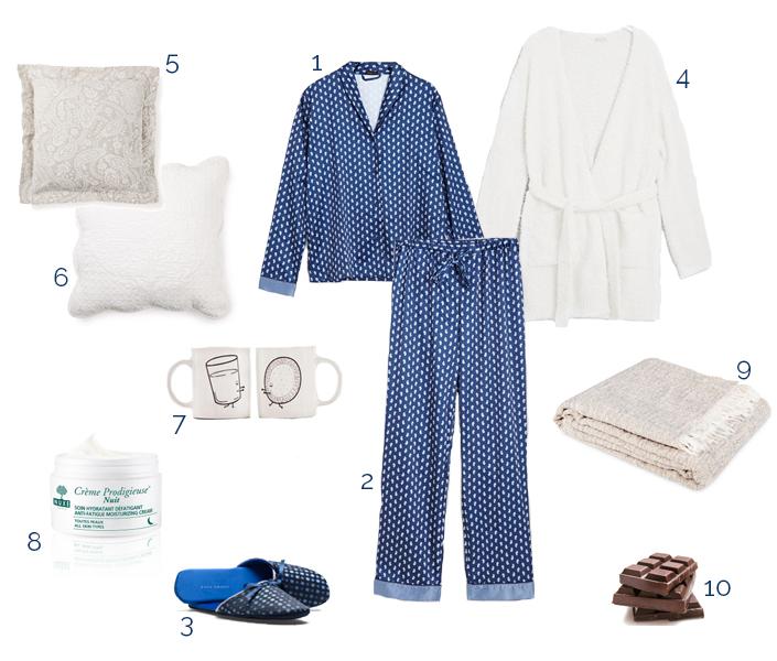 soirée cocooning, joli pyjama, accessoires maison, situations, idée de tenue