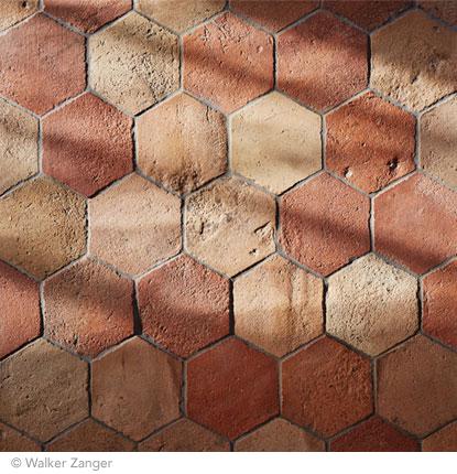 piastrelle esagonali, pavimento, terracotta