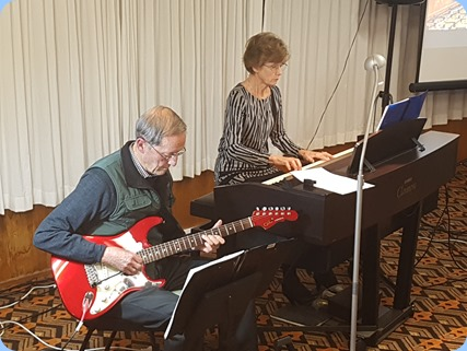 Brian and Denise Gunson wer our guest artists. Brian on his G&L electric guitar and Denise playing the Clavinova