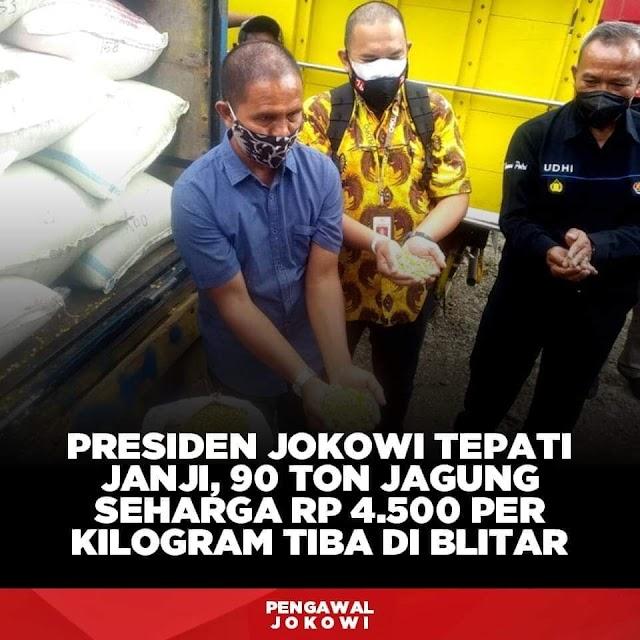 Presiden Jokowi Tepati Janji,90 Ton jagung Seharga Rp.4.500 Perkilo Tiba di Jawa