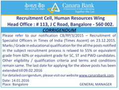 Canara Bank Corrigendum 2016 SO
