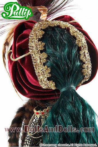 pullip saras: vista posterior pelo verde melena turbante coleta
