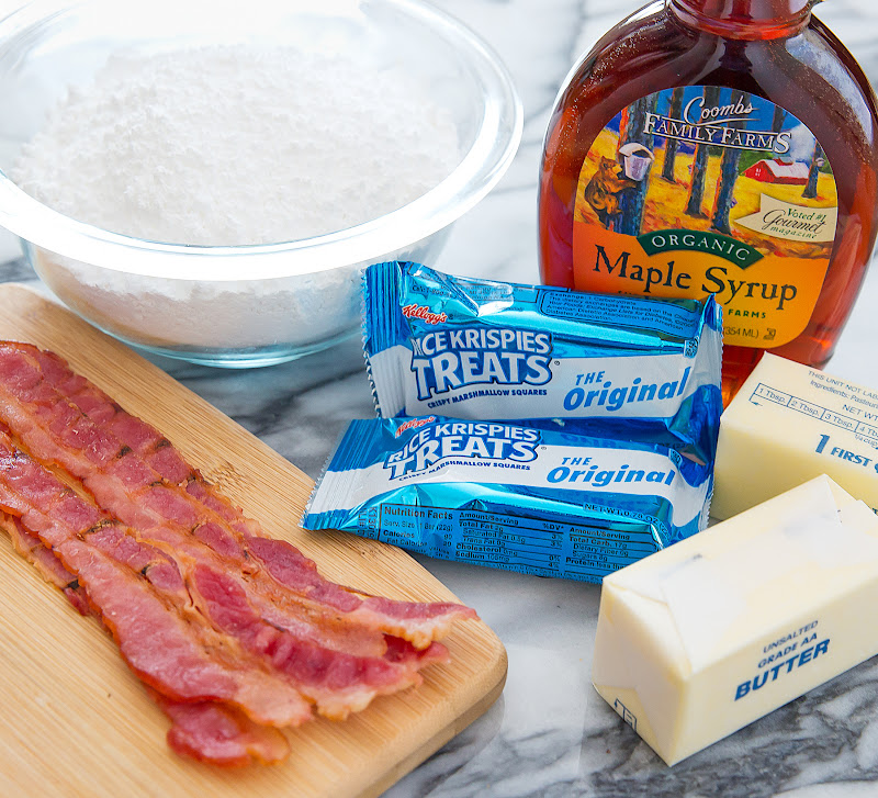 photo of the ingredients to make Maple Bacon Rice Krispies Treats Bars